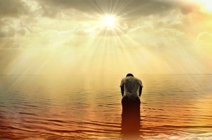Man in water light