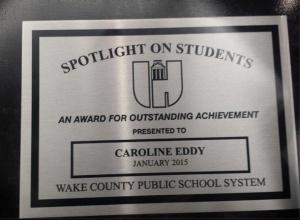 Caroline's plaque