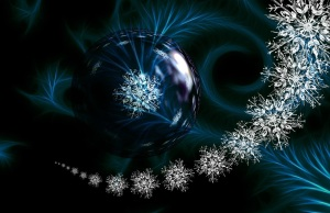 Blue ornament with snowflakes