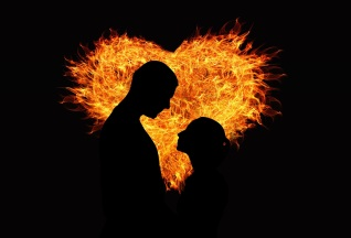 fire heart with couple