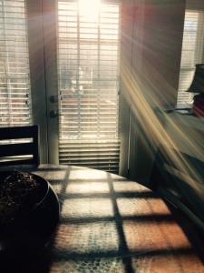 Rainbow light through deck door