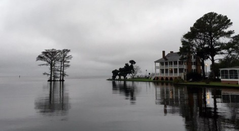 Grey day Barker House water