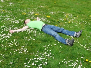 Lying in the meadow