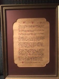 framed letter copy